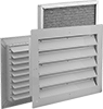 Fixed-Blade Wall Louvers with Adjustable Register and Filter
