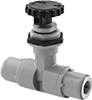 Precision Flow-Adjustment Valves with Push-to-Connect Fittings for Food and Beverage