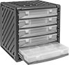 Plastic Stackable Small-Parts Cabinets with Compartmented Boxes