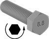 Left-Hand Threaded Medium-Strength Metric Class 8.8 Steel Hex Head Screws
