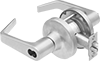 High-Traffic Key- and Button-Locking Door Handles for Easy-Change Lock Cylinders