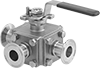 Diverting Valves with Sanitary Quick-Clamp Fittings for Food and Beverage