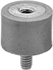 Metric Extreme-Temperature Vibration-Damping Sandwich Mounts with Stud and Insert