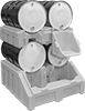 Stackable Spill-Control Racks for Pails, Cans, and Drums