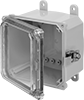 Versa-Mount Polycarbonate Corrosion-Resistant Washdown Enclosures with See-Through Cover