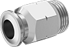Universal-Thread Stainless Steel Push-to-Connect Tube Fittings for Air and Water