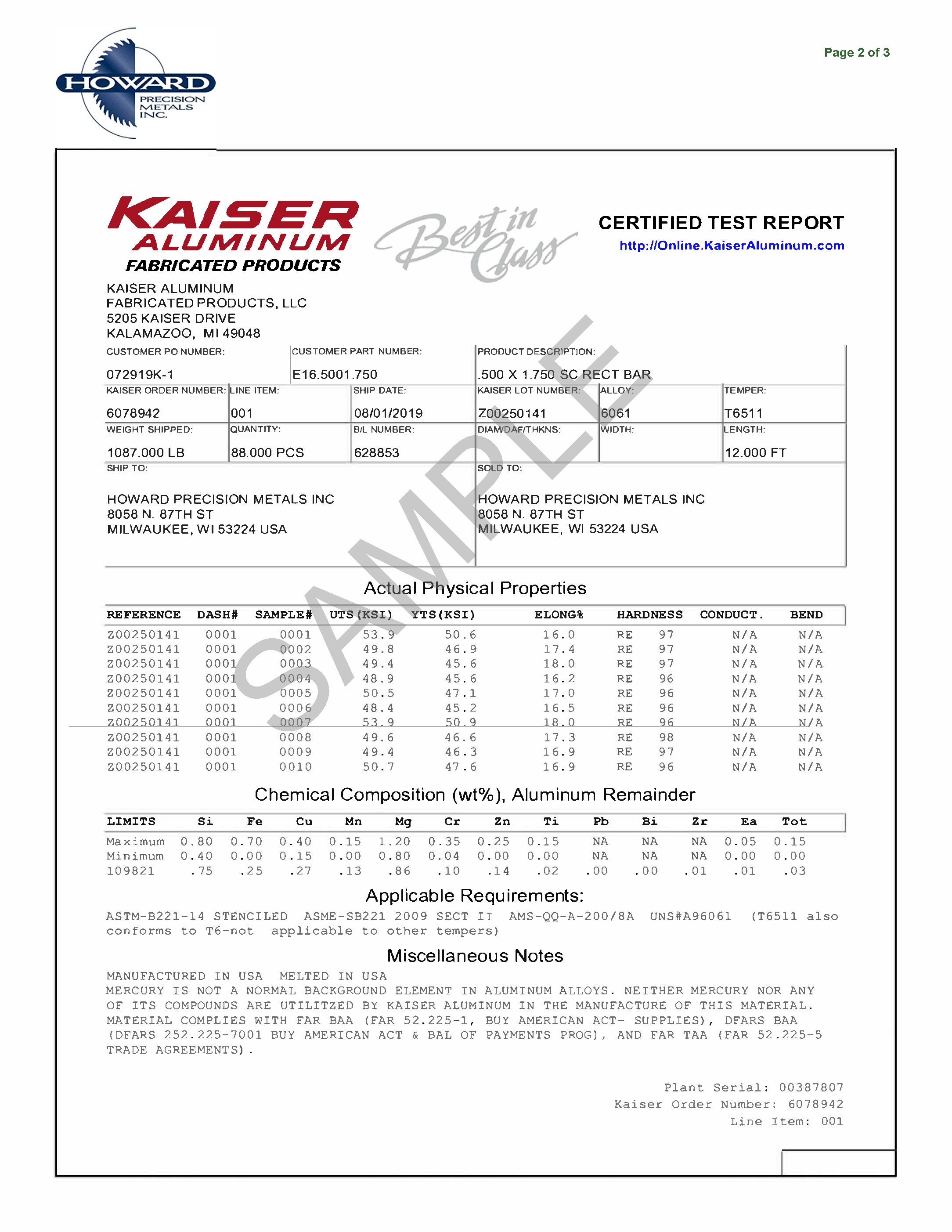 Sample Certificate for 6061 Aluminum Bar