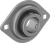 Low-Profile Mounted Ball Bearings with Two-Bolt Flange